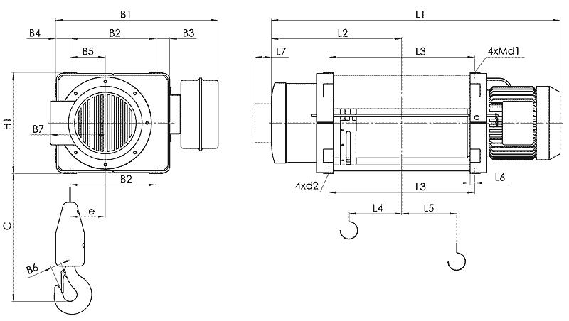 telfer MT 1 - Таль электрическая канатная стационарная