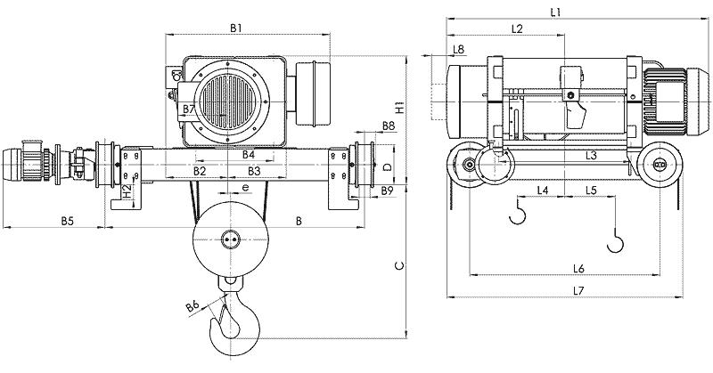 telfer MT 10 - Таль электрическая канатная передвижная на двухрельсовой тележке