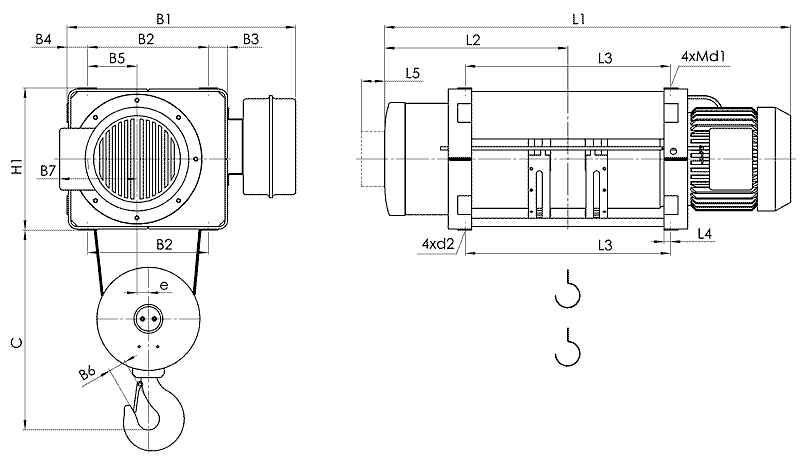 telfer MT 11 - Таль электрическая канатная стационарная