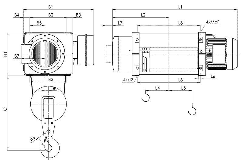 telfer MT 2 - Таль электрическая канатная стационарная