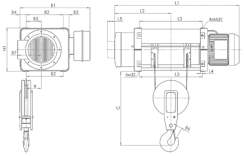 telfer MT 3 - Таль электрическая канатная стационарная