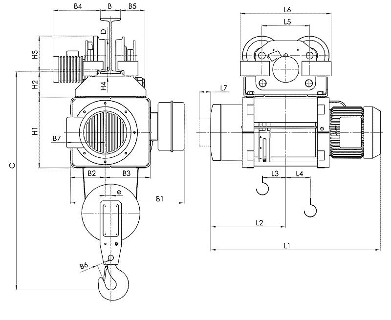 telfer MT 4 - Таль электрическая канатная передвижная на монорельсовой тележке