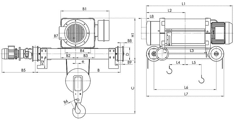 telfer MT 6 - Таль электрическая канатная передвижная на двухрельсовой тележке