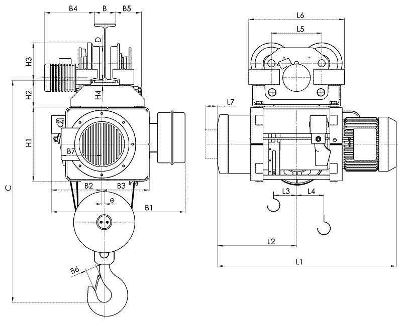 telfer MT 8 - Таль электрическая канатная передвижная на монорельсовой тележке