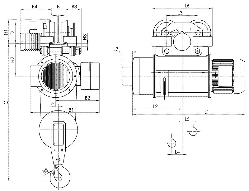 telfer T10 1 1 - Таль электрическая канатная передвижная на монорельсовой тележке