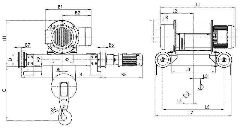 telfer T81 1 - Таль электрическая канатная передвижная на двухрельсовой тележке