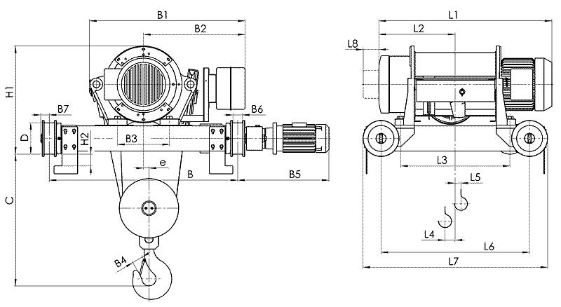 telfer T82 - Таль электрическая канатная передвижная на двухрельсовой тележке
