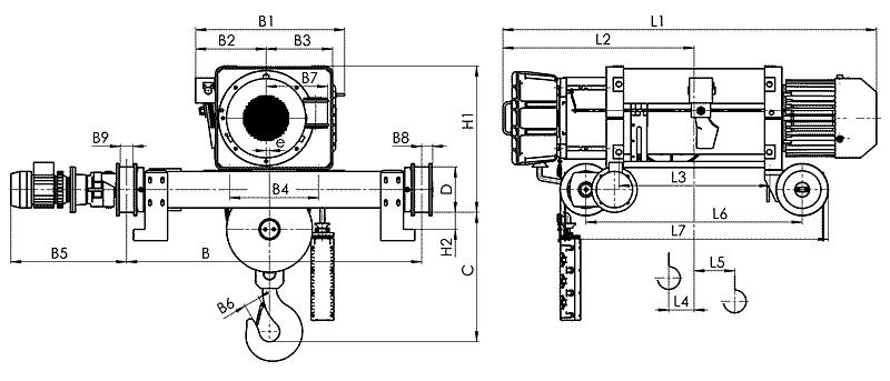 telfer VMT 10 - Таль электрическая канатная передвижная на двухрельсовой тележке