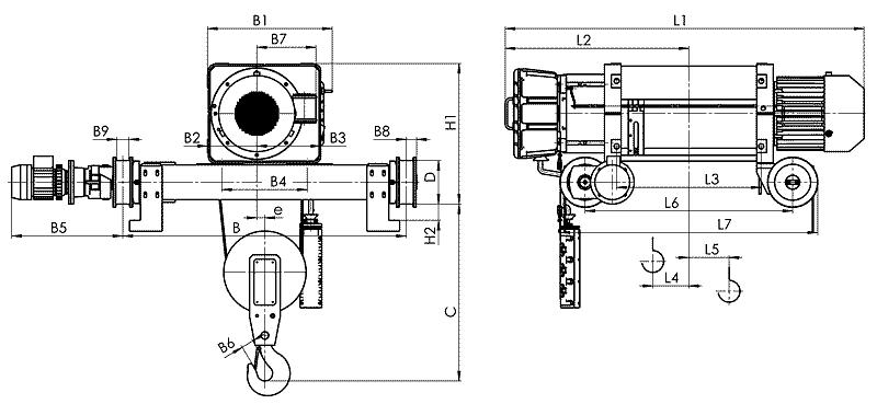 telfer VMT 6 1 - Таль электрическая канатная передвижная на двухрельсовой тележке