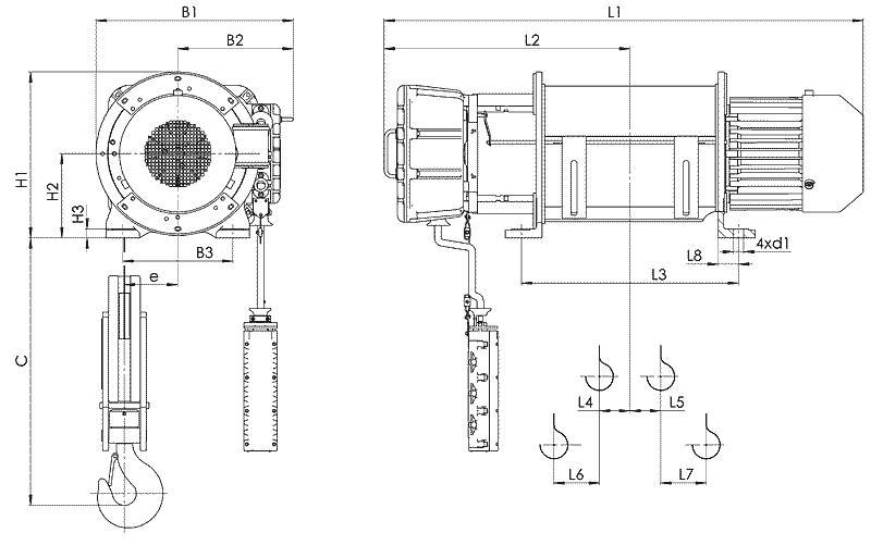 telfer VT51 - Таль электрическая канатная стационарная