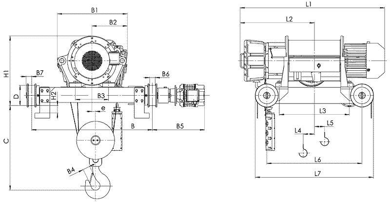 telfer VT82 - Таль электрическая канатная передвижная на двухрельсовой тележке
